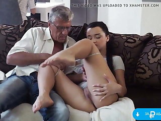 Stepfather fucked daughter-in-law measurement her husband was working in front abacus