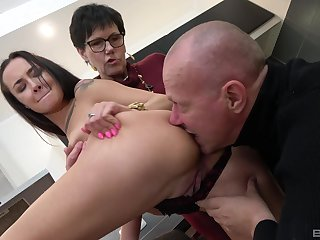 Old couple apportionment young pussy in crazy amateur threesome