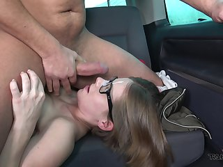 Girl rides together with sucks dick on the with respect to seat in nerdy can scenes
