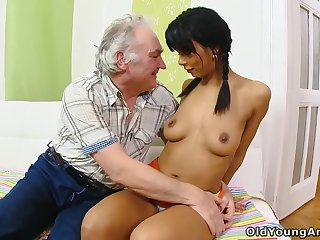 Old man's hope of fucking a cute shy tot finally comes true