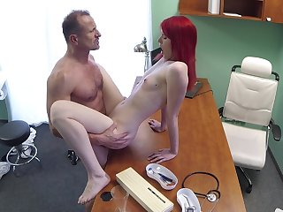 Slim cutie pie rides her alloy after he check her pussy right