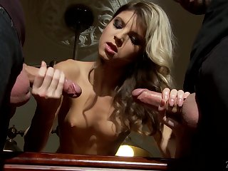 Teeny-weeny tow-headed Gina Gerson gets a mouthful of cum after unsound threesome sex