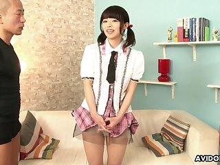Not so shy Japanese girl lets perverted bobtail pretend to her body for some quick cash